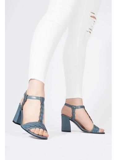 CZ London Hakiki Deri Klasik Topuklu Ayakkabı Mavi